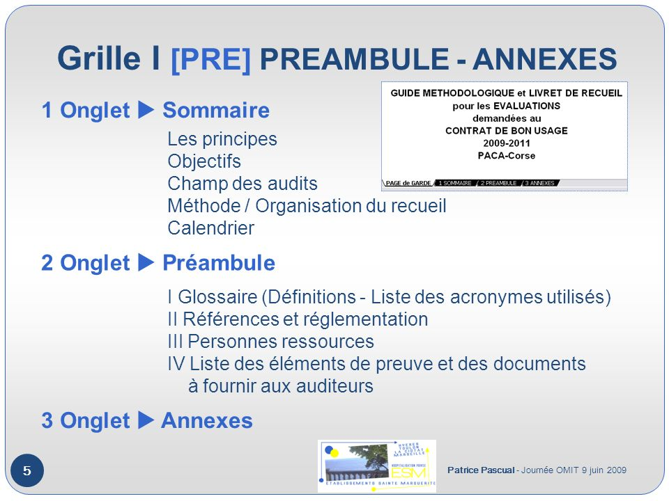 Grille I [PRE] PREAMBULE - ANNEXES